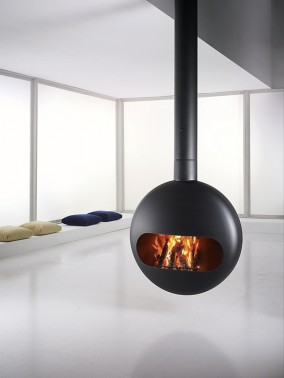 suspended fireplace with open hearth