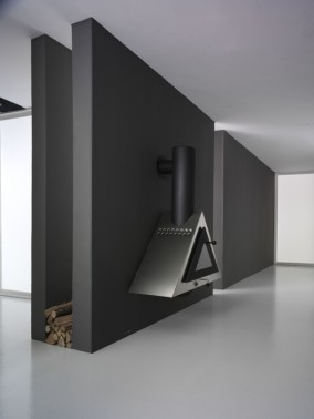stainless steel and ceramic modern fireplace