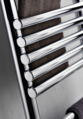 carbon steel heated towel rail detail