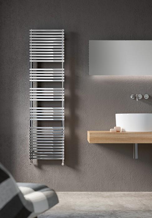 Termoarredo elettrico per bagno con elementi rettangolari in acciaio al carbonio - Termoarredo bagno cromato ...