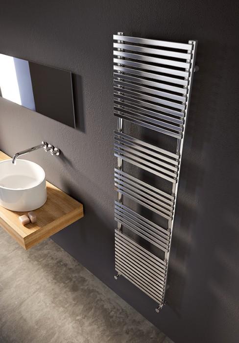 Termoarredo elettrico per bagno con elementi rettangolari in acciaio al carbonio - Scaldasalviette da bagno ...