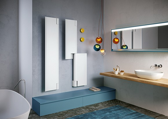 Modern interior in a stylish bathroom with hand basin toilet